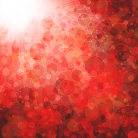red boken background lights, blurred out of focus falling snow or rain in sky, shiny glittery lights or circle shapes, floating bubble background Stock Photo