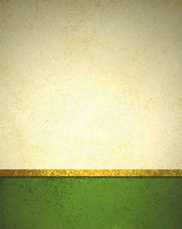 抽象的なゴールドの背景に暗い緑フッターとゴールド リボン トリム境界線、美しいテンプレート背景レイアウト、高級ビンテージ グランジ背景テ