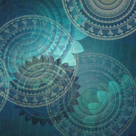 꽃 디자인 요소와 화려한 파란색 배경 패턴, 라운드 밀봉 패턴의 레이어 빈티지 배경 종이에 모양, 블루 벽지