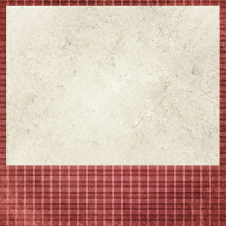 vintage red checkered background. beige cream old paper insert. Abstract shabby chic line design element with distressed texture. photo