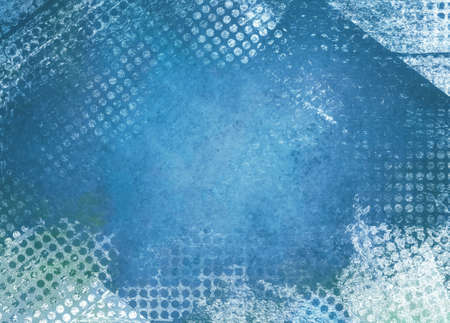 white textured paper: messy grunge blue background paper with textured abstract white grid pattern border