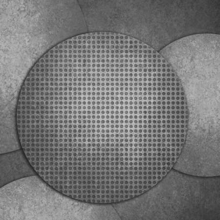 spot the difference: abstract black grid background layers, round circle shapes layered design Stock Photo