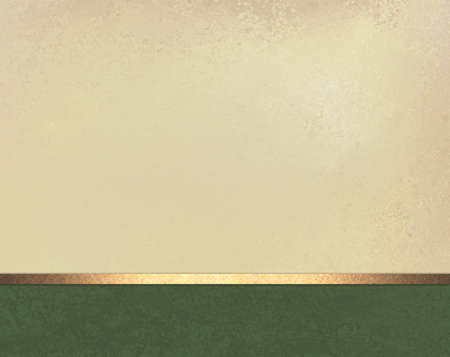 elegant off white beige background layout design with vintage parchment texture, dark green footer with shiny gold ribbon stripe