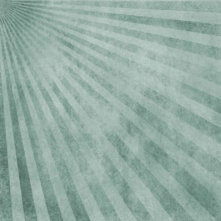 faded: abstract faded retro background, blue green and white distressed vintage sunburst design pattern of stripes or lines radiating from corner, grunge background texture Stock Photo