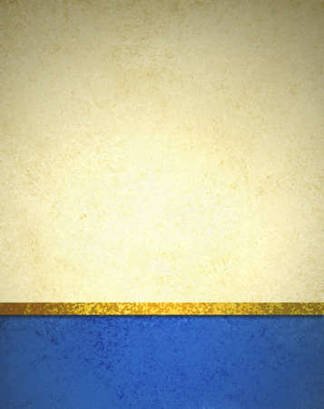 abstract gold background with blue footer and gold ribbon trim border, beautiful template background layout, luxury elegant gold paper with vintage grunge background texture design Standard-Bild
