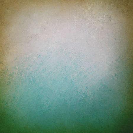 우아한 배경: 오래 된 종이 흰색과 고민 갈색 테두리 가장자리 청록색 파란색 배경, 착용 빈티지 텍스처를 머 금고