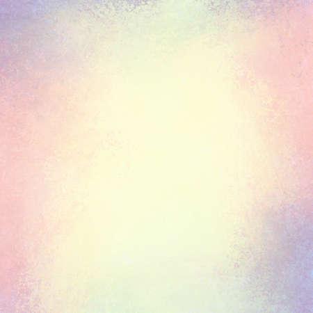 色あせた白中心、パステル カラー、境界線のビンテージ背景グランジ テクスチャ デザイン ソフト黄ばんだピンクおよび青い背景