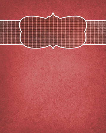 element old: red background with plaid checkered country ribbon and blank curved frame design element, old distressed texture design Stock Photo