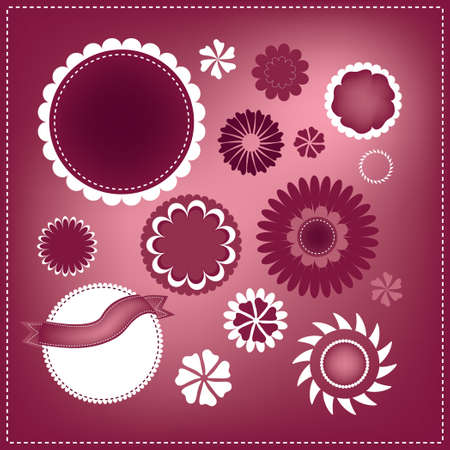 pink vector text box designs, elegant seals or sticker shapes, round fancy shapes with star flower border design, white trim accent Illustration