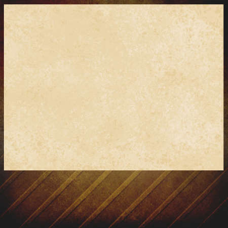 venue: blank venue announcement, beige background brown vintage border design outline with angles and soft lighting, old distressed off white paper on elegant dark brown, poster design element