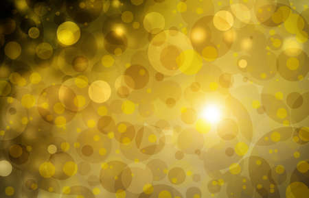 Beautiful gold bokeh background with black border and shimmering white Christmas lights and lens flare