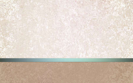 tan: elegant off white background layout design with vintage parchment texture, teal blue green shiny ribbon and blank brown footer