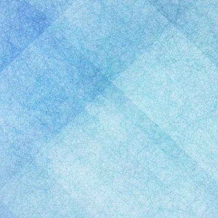 blue background with white angled blocks and stripes in abstract pattern with vintage scratch texture design and faint detailed brush strokes Archivio Fotografico
