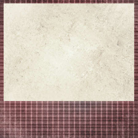 vintage red checkered background. beige cream old paper insert. Abstract shabby chic line design element with distressed texture. blank Christmas holiday card or announcement photo