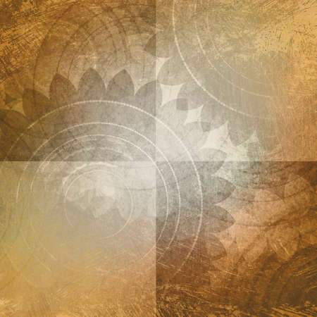 background pattern: light brown and white background, blocks or squares with faded old vintage texture and floral pattern, rustic shabby chic background design Stock Photo