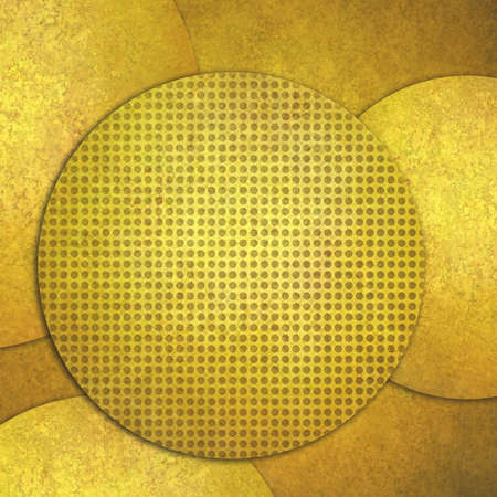 spot the difference: abstract gold background, layers of gold circle shapes in artistic creative layouts with distressed vintage texture, grid of dots on top layer