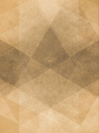 yellowed: abstract brown background design of gray angled squares blocks triangles and diamond shapes in random pattern with distressed faded vintage background texture Stock Photo