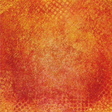 grid paper: messy grunge orange background paper with textured abstract grid pattern border Stock Photo
