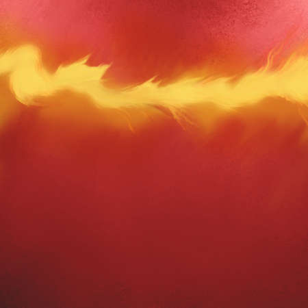 combust: elegant red background with flames in bright yellow and orange painted illustration, hot fire streak graphic art design element, warm colors Stock Photo