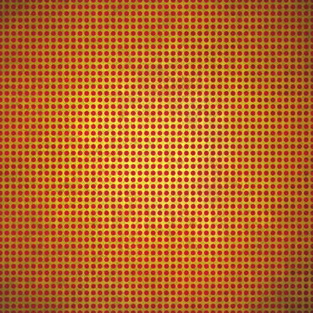 polka dotted: vintage gold polka dotted background red spots on gold paper with faint center spot lighting and distressed texture Stock Photo