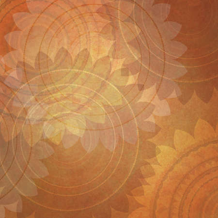 vintage background: fancy orange background pattern with flower design elements, layers of round seal pattern shapes on vintage background paper, orange yellow sunflower wallpaper Stock Photo