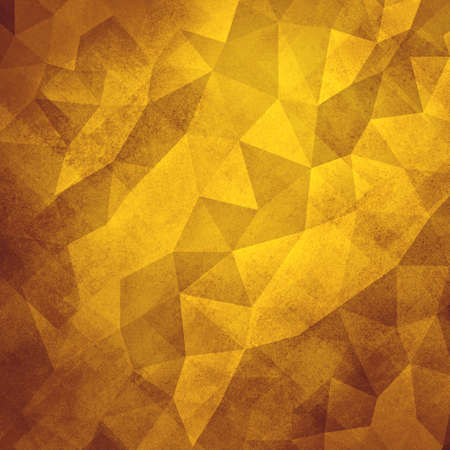 facets: gold background. Low poly yellow background. Triangle shapes in mosaic pattern of diamond facets, low poly triangular style background design texture Stock Photo