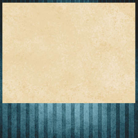 cream colored: faded blue striped background pattern, beige or cream colored insert of distressed old paper texture, blue outline border Stock Photo