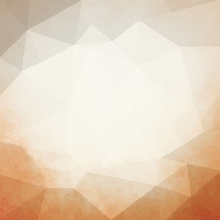 faded: faded vintage low poly background concept in copper orange and beige brown colors with white center facets for copyspace Stock Photo