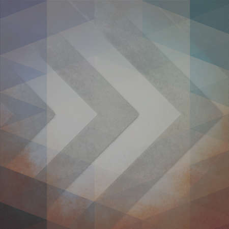 low angles: faded vintage background in dull gray blue purple orange and brown colors with chevron stripes and faint double exposure low poly triangle shape overlay Stock Photo