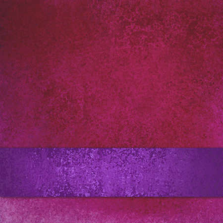 distressed paper: old distressed red background paper texture design with purple ribbon or stripe Stock Photo