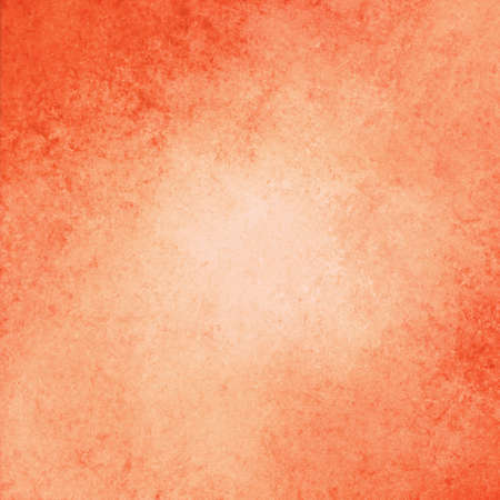 soft center: abstract orange background design, border has dark orange color edges of rough distressed vintage grunge texture, pale soft opaque white center Stock Photo