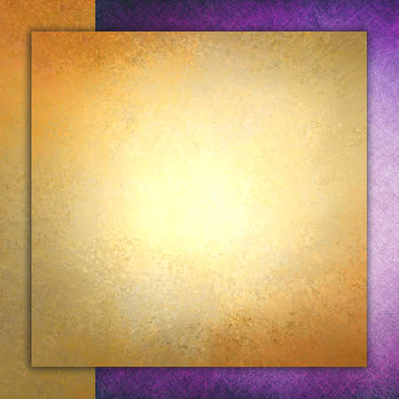 background stationary: elegant gold background texture paper with purple border, faint rustic grunge border paint design, old distressed gold wall paint Stock Photo