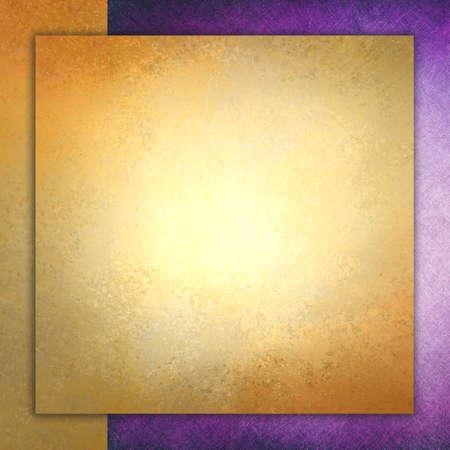 elegant gold background texture paper with purple border, faint rustic grunge border paint design, old distressed gold wall paint Foto de archivo