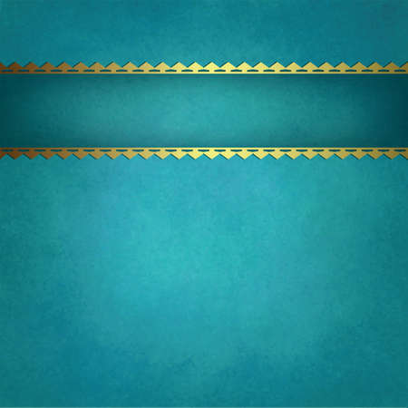 blue background vector with gold trimmed ribbon that is blank for title or text, blue green background textured report cover or brochure with copyspace, vintage background texture, and stripe decor