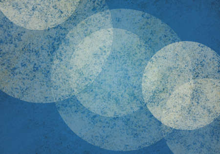 large white bokeh lights on blue background with textures. Cool floating layers of bubbles or round circle shapes on blue sponged texture background. Abstract modern art design layout.