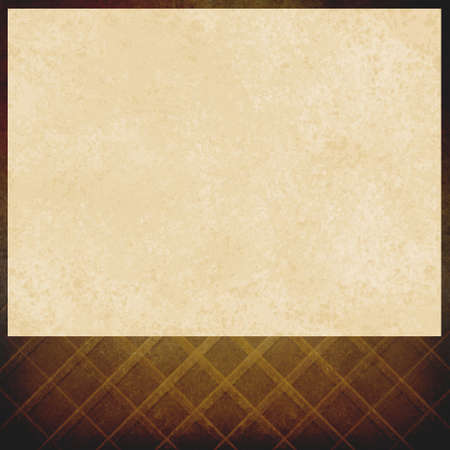 brown background: vintage white paper on brown background, elegant criss cross pattern of faded brown, old distressed texture, blank footer space for announcement or title