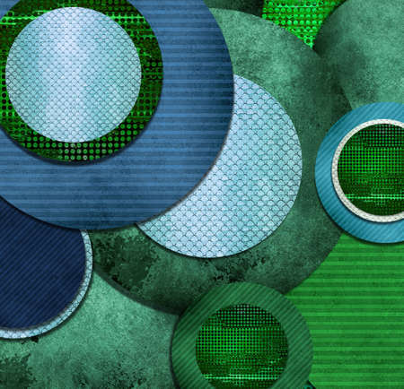 artsy: fun abstract circle designs in green and blue layers, cool texture and artsy composition