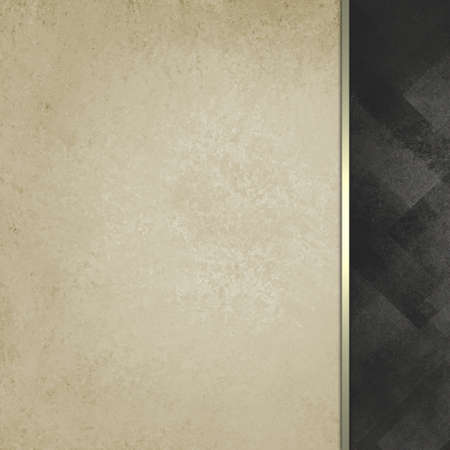 stripe: old white vintage paper background with abstract black faded sidebar pattern with elegant classy gold ribbon stripe accent, formal background, blank template for website design or graphic art projects Stock Photo