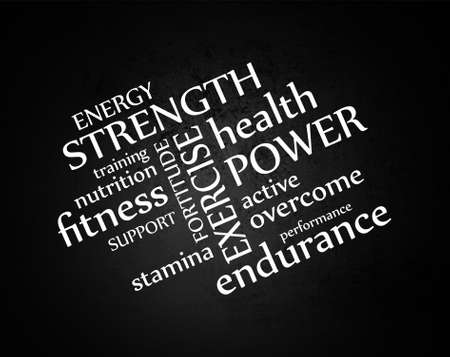 health and fitness: white typography on black grunge background or chalkboard vector, words about health exercise nutrition and fitness in abstract artistic layout Illustration