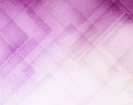 sponged: abstract pink and purple background with whited out bottom corner area, diamond shapes in floating transparent layers and sponged distressed texture Stock Photo