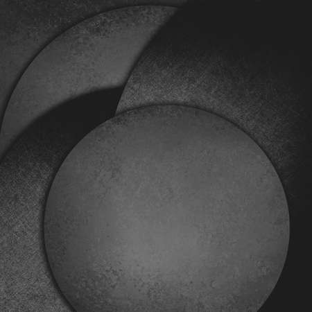 black shadows: abstract black background shapes layered in random pattern, dark charcoal gray circles with shadows in artsy composition design, modern art layout with different textures Stock Photo