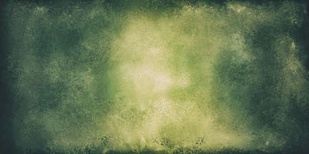 faded green background banner or header with vintage texture, old worn and distressed grunge painted wall, green border stains with yellow green center Stock fotó