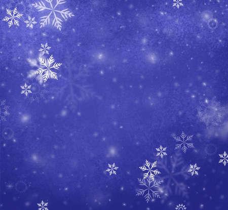 blue christmas background: white falling snow on deep blue background, Merry Christmas or winter background design with falling snowflakes in blue sky