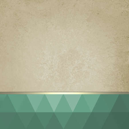 classy: abstract background layout with low poly blue green triangles and thin gold ribbon, old white paper with low-poly triangular footer for website design or graphic art projects