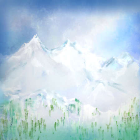 cloudy sky: digitally painted mountain landscape scene with cloudy sky