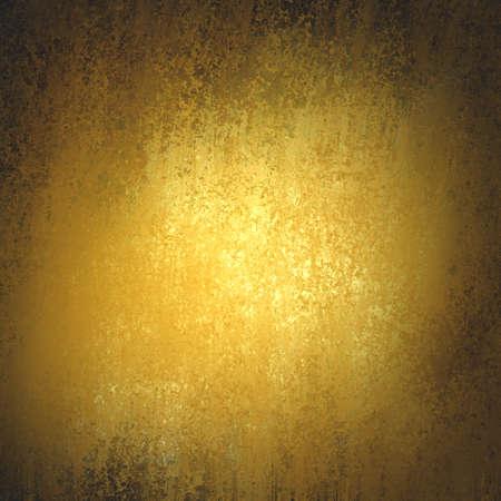 vintage gouden achtergrond textuur met donkere zwarte vignet grens, oude luxe achtergrond met glanzende vlekjes van goud verf, gele achtergrond