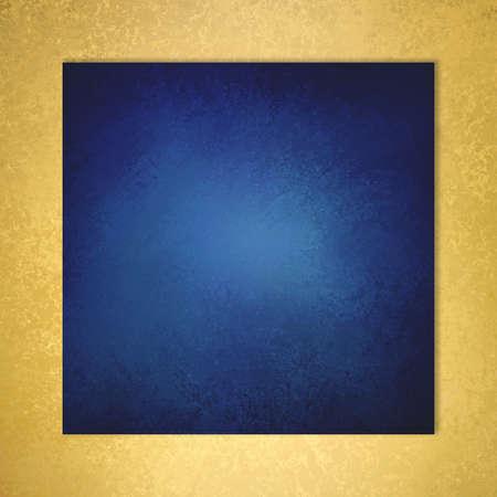 saffier blauwe achtergrond met elegante metallic gouden rand en vintage verontruste textuur