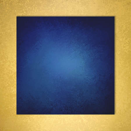 old page: sapphire blue background with elegant metallic gold border and vintage distressed texture Stock Photo
