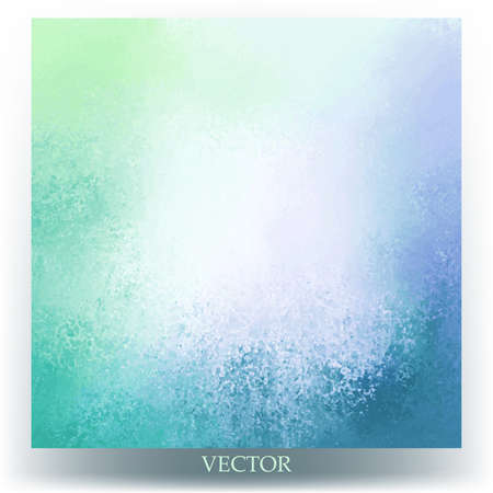 abstract background vector blue and green spring colors with blank white or beige center and bright grunge textured border, fun cheerful background design for brochure or website graphic art designs Ilustração