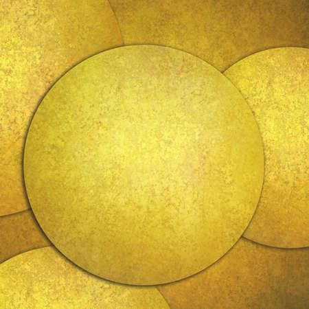 circle abstract: abstract gold background, layers of gold circle shapes in artistic creative layouts with distressed vintage texture Stock Photo